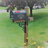 cross designed wrought iron mailbox post