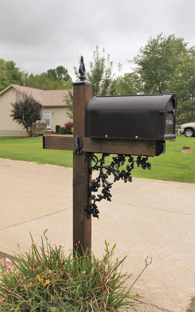Acorn Pattern Wrought Iron Mailbox Post Dress Up Kit, Mailbox Decor