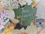 Fall Decoration, Decorative Leaf Fall Blessings Metal Sign, Autumn Decor