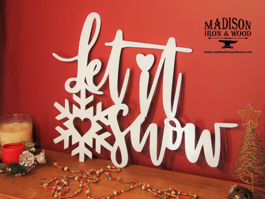 Holiday Word Art, Let it Snow Winter Decor, Christmas Decor
