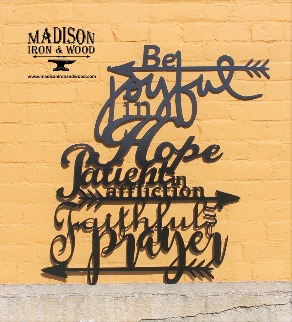 Metal Word Sign Joyful Hope Patient Faithful Home Decor Wall Art Madison Iron And Wood