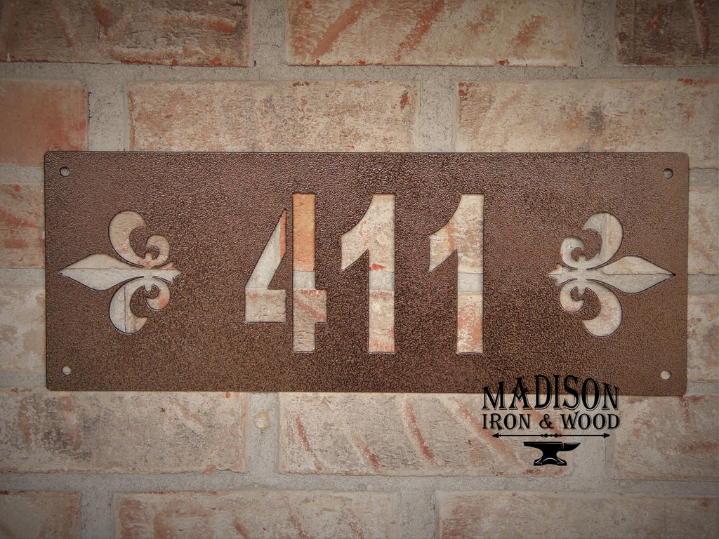 Address Sign, Fleur De Lis Style Numbered Sign