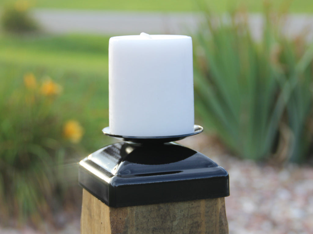 Decorative candelabra post cap for 4x4 wood post