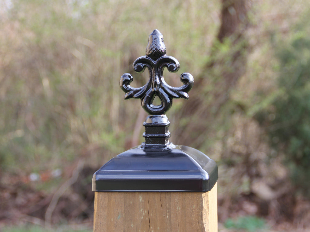 6x6 Wrought Iron Post Cap for Wood Post, Nottingham Design