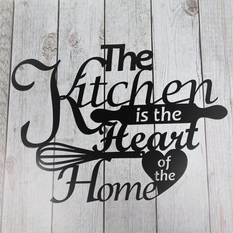 Metal Wall Sign The Kitchen Is Heart Of Home Decor