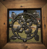 Wrought Iron Round Rose Pattern Window Insert for Wood Gates