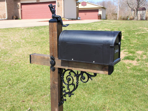 Under the Sea Wrought Iron Wood Mailbox Dress up Kit, Beach Themed Mailbox post