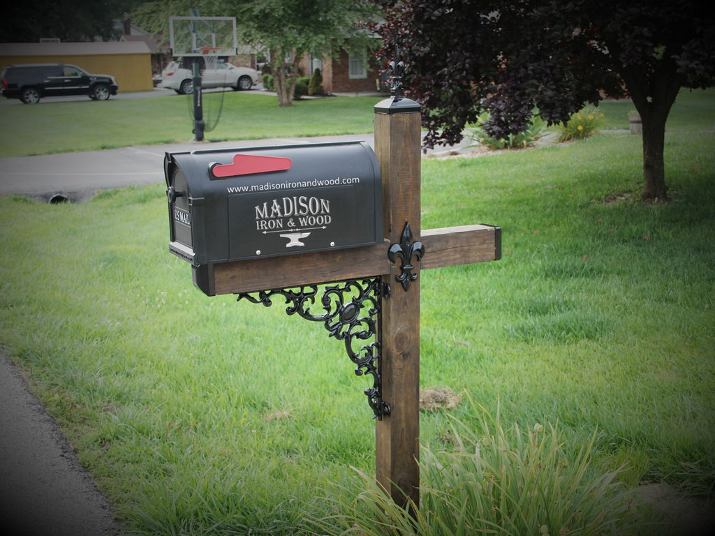 Picture of: Wrought Iron Mailbox Accessory Kit To Decorate A Standard Mailbox Post Madison Iron And Wood
