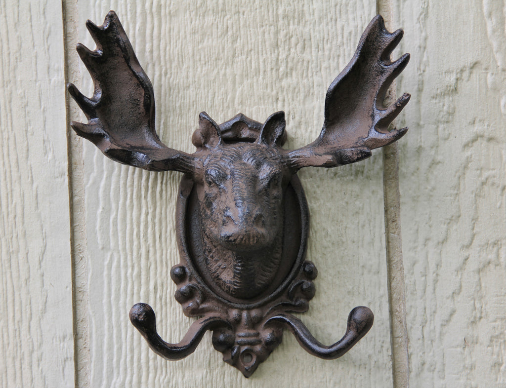 Large Cast Iron Rustic Moose Head Coat Rack Hooks