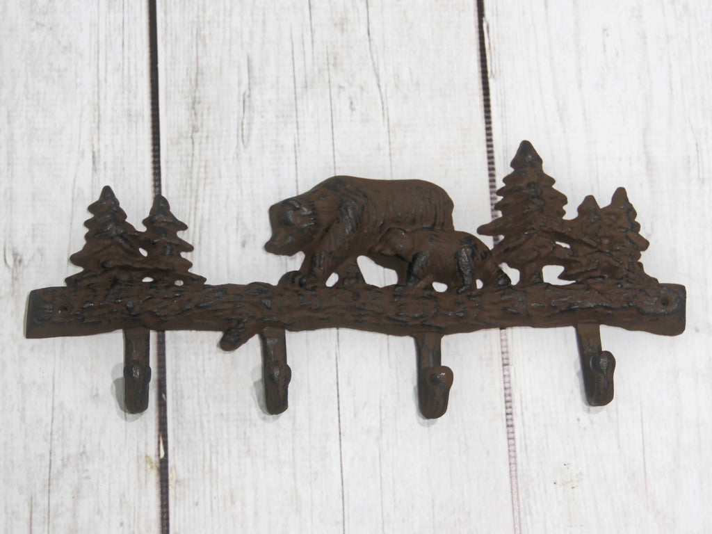 Bear in woods rustic cast iron 4 hook wall decor madison for Rustic bear home decor