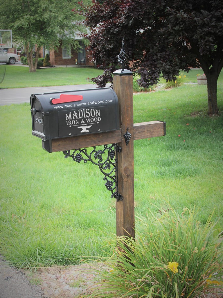 wood mailbox posts. Grape Vine Wrought Iron Accessory Kit For Wood Mailbox Posts A