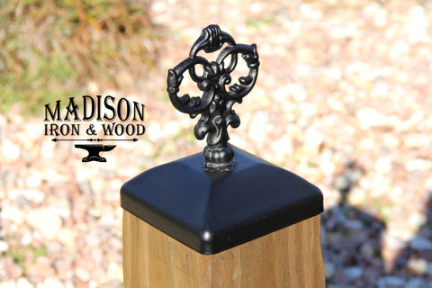 Wrought Iron Quad Spear Post Cap For 6x6 Wood Composite