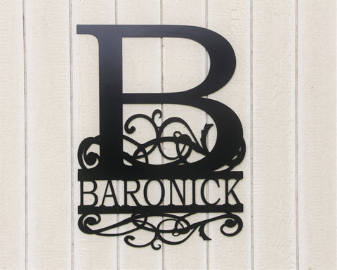 Large Monogram sign, Bushy Scrolled Family Sign