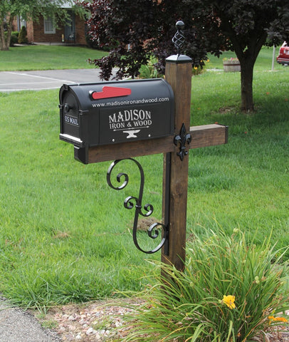 Double S Scrolled Iron Mailbox Post Dress Up Kit, Wrought iron Mailbox Post Scroll Design