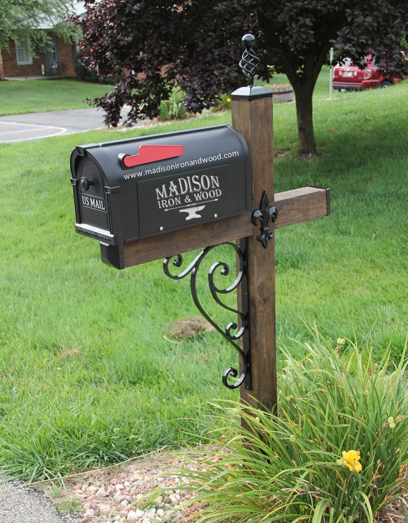 Scrolled Iron Mailbox Post Dress Up Kit, Wrought iron Mailbox Post Wave Scroll Design