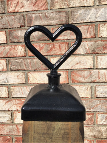 Decorative Cast Iron Heart Post Cap for 4x4 wood / composite Post, Gate, Fence, Mailbox post