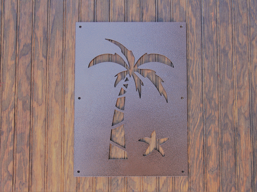 Palm Tree Steel Insert Window for Wood Gate, Beach Theme Door Window, Speak Easy