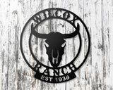 Steer Skull Personalized Sign