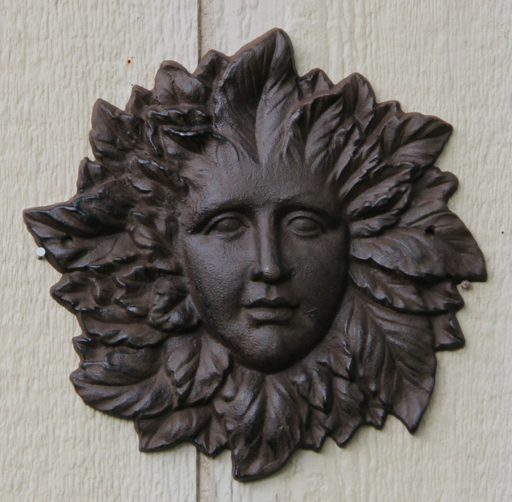 Flower Faced Cast Iron Woman Garden Decor