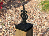 Wrought Iron Norwegian Lyre Post cap for 4X4 wood post.