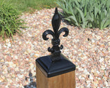 6x6 fleur de lis post cap Black side