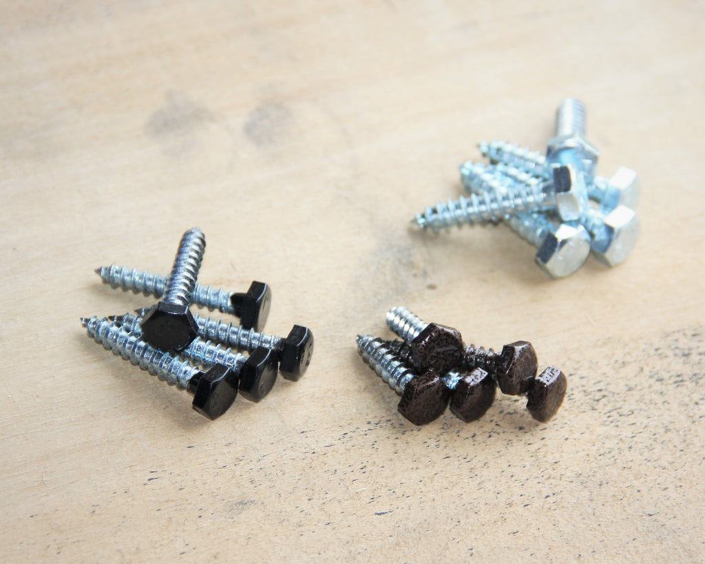 Lag bolts in a variety of colors