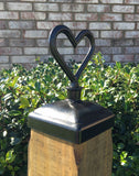 4x4 heart fence post cap