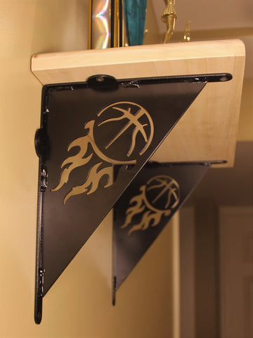 Shelf Bracket, Basketball design, Decorative Flaming Basketball Angle Bracket
