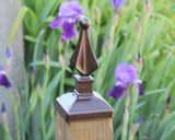 Bronze quad spear fence post cap
