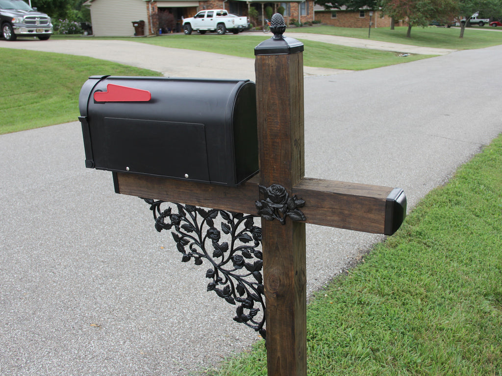 Rose Pattern Wrought Iron Mailbox Post Accessory Set with Pineapple top, Mailbox Decor
