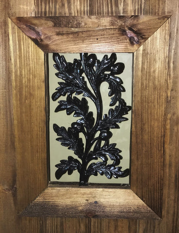 Wrought Iron Acorn Design Window Insert for Wood Gates