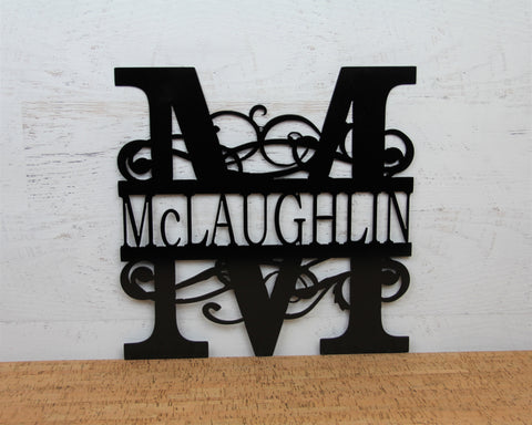 Bushy Scroll Monogram Metal Sign, Street Number Sign