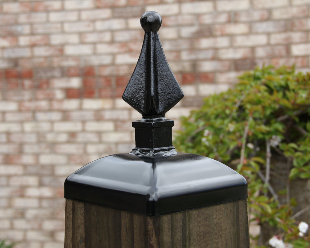 6x6 Post Cap Quad Spear Fence Topper 6x6 Post Finial Post Toppers Madison Iron And Wood