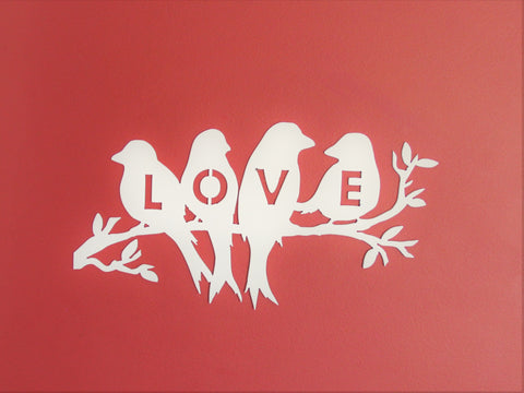 Love Bird on Tree Branch Metal Wall Art