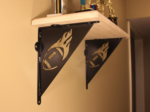 Shelf Bracket, Football design, Decorative Flaming Football Angle Bracket