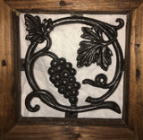 Wood Gate Door, Cast Iron Grape Vine Window Insert, Vineyard design