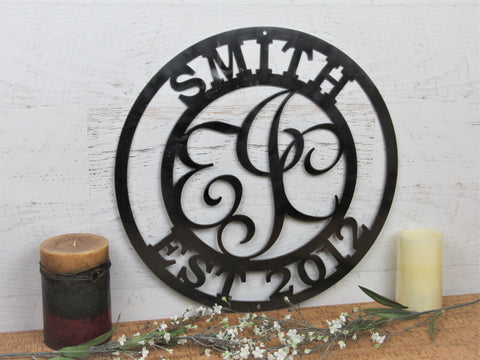 Personalized Steel Monogram Family Sign