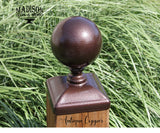 Antique copper cannonball post cap