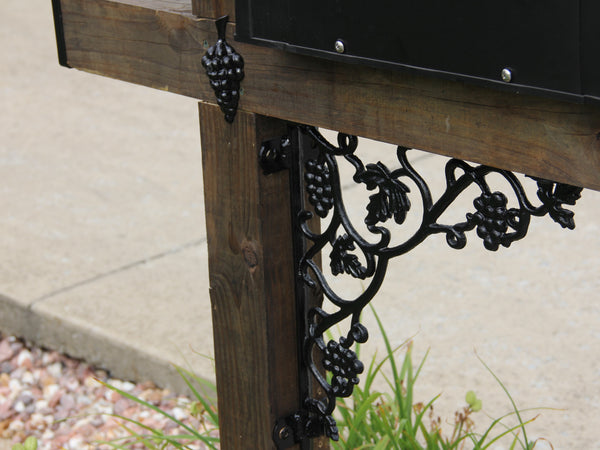 Grape Vine Wrought Iron Accessory Kit For Wood Mailbox