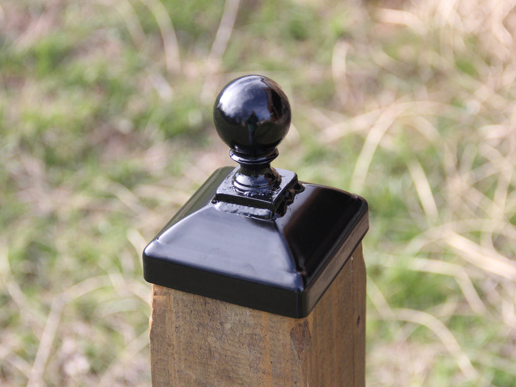 Post cap for Nominal 4x4 Wood Post, Wrought Iron Cannonball