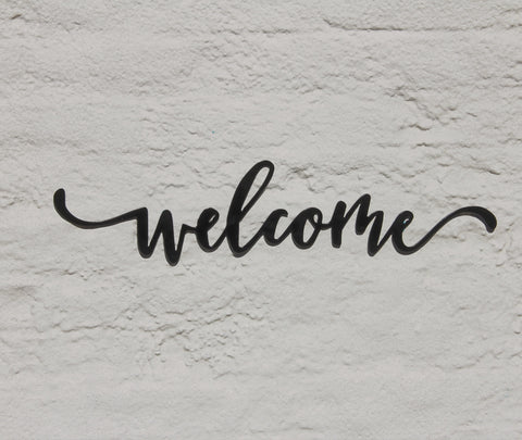 welcome sign metal word