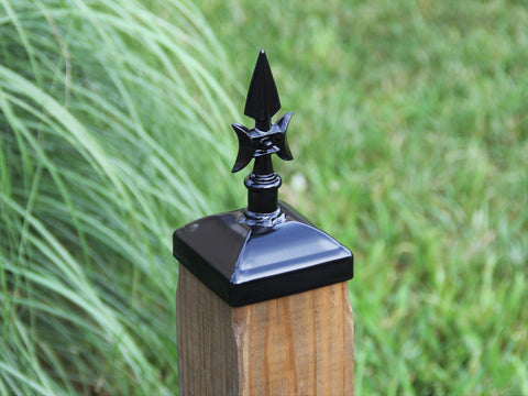 4x4 gothic spear fence post cap