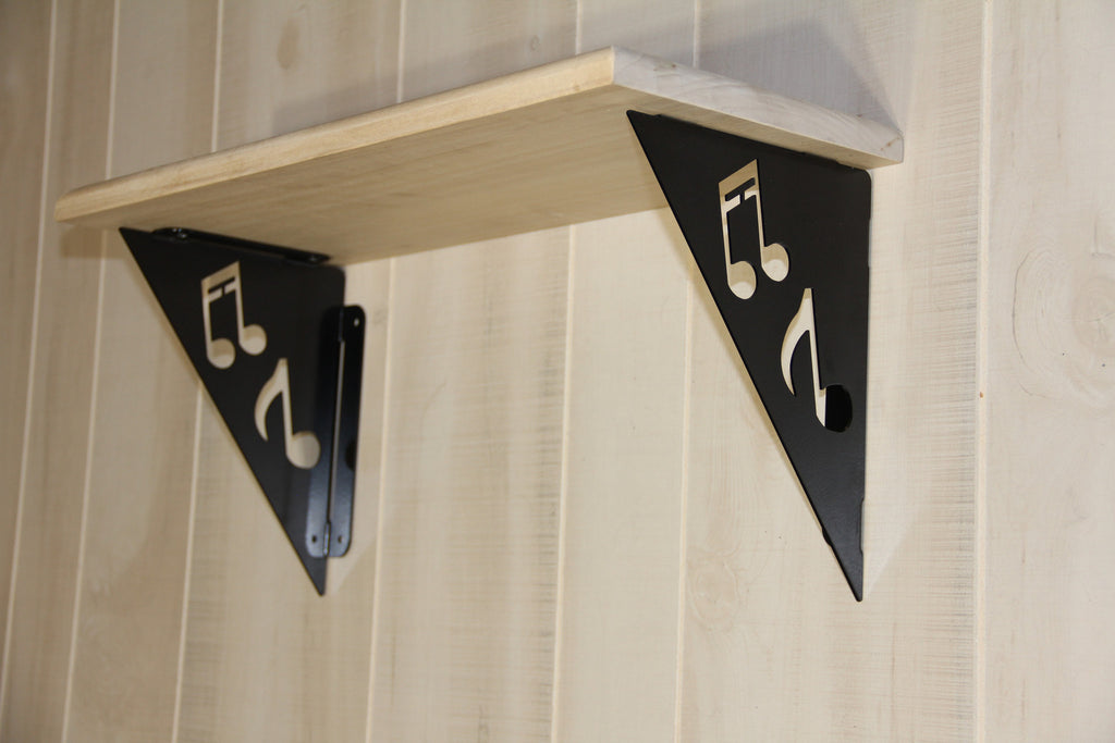"Corner Brackets, Musical Notes Design, 7""x9"" Trophy Shelf Braces"
