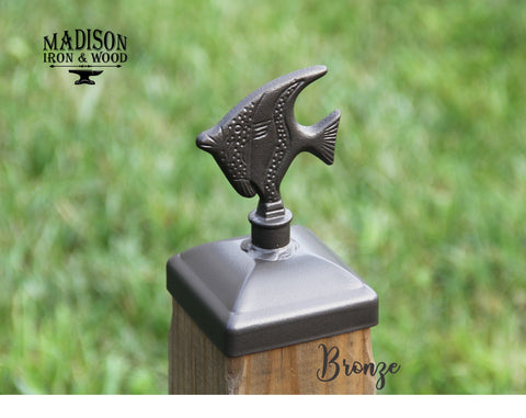 Decorative Fish Post Cap for 4x4 Wood Fence Post