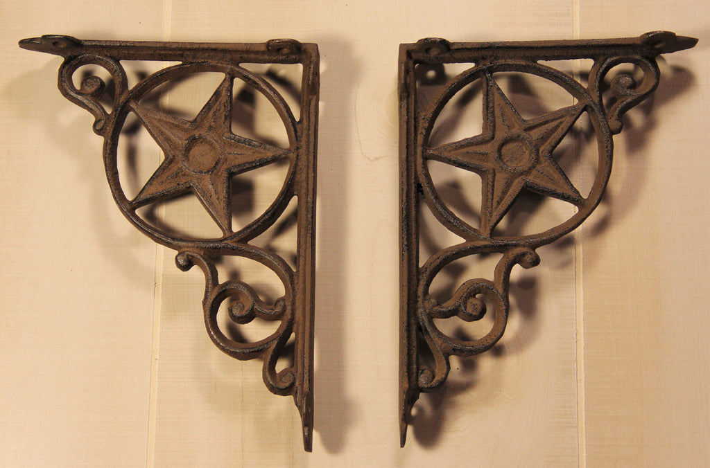 Wrought Iron Rustic Star Shelf Bracket
