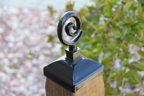 Wrought Iron Spiral Post Cap for 4x4 Wood Post