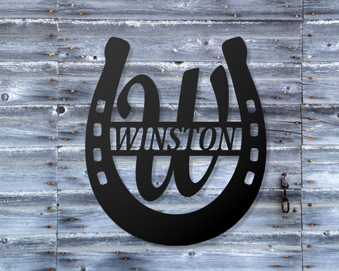 Horseshoe ranch Monogram Sign