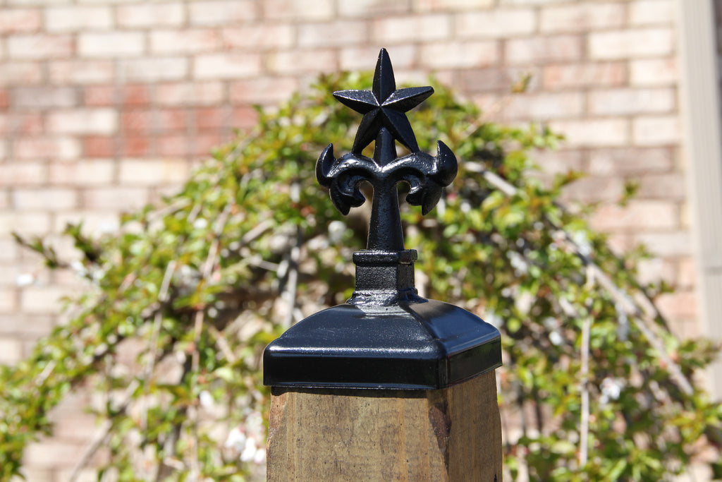 Decorative Texas Star And Tree Top Post Cap For 4x4 Wood