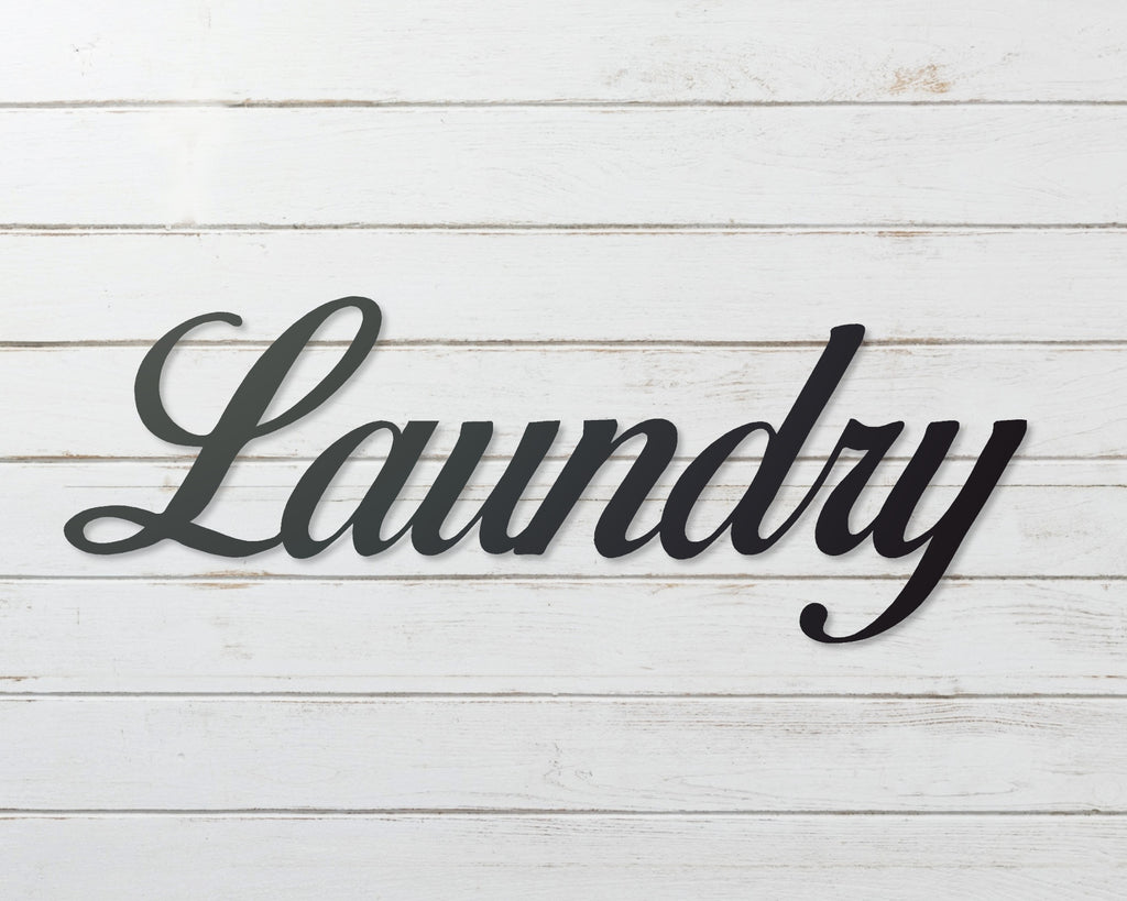 Laundry Sign, Metal Word Sign, Laundry Room Decor, Bathroom Decor