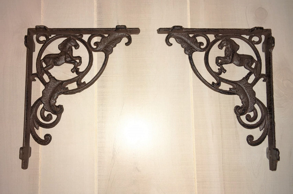 Rustic Wrought Iron Horse Shelf Bracket